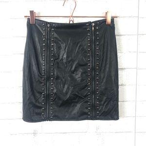 NEW Rumor X LF Faux Leather Studded Zipper Skirt
